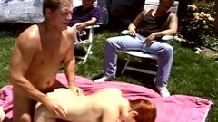 Naughty Redhead Swinger Wife Used At The Picnic for Fucking Thumb