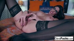 Naughty Dava plays with her tight pussy Thumb