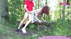 Petite redhead teen outdoor fuck and swallow Thumb