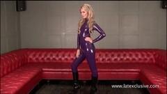 Sexy Purple latex blonde Charlottes high heels Thumb