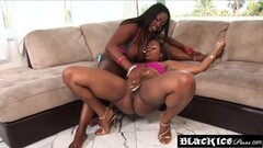 Hot ebony duo share toys while eating puffy pussy Thumb