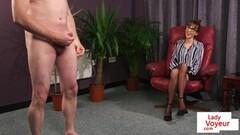 British CFNM hot office voyeur enjoys JOI Thumb