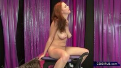 Horny Redhead with huge tits orgasms on sex machine Thumb