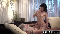 Old Young Porn Teen Fucked by old man on the couch Thumb