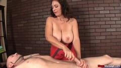 Sexy brunette gets mean awesome massage Thumb