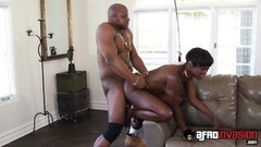 Black Babysitter Ana Foxxx Gets Couch Drilling Thumb