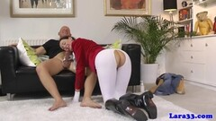 Luscious brunette gobbles down this hard cock Thumb