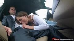 Beautiful Barbara Bieber slurping on dick in the car Thumb