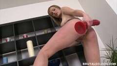 Horny Blonde Secretly Finds a Massive Red Dildo and Rides It Thumb