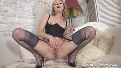 Frisky Hot Blonde Satine Spark Masturbates in Nylons and Heels Thumb