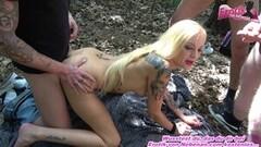 Steamy German Skinny Blonde Outdoor Creampie Gangbang Teen Thumb