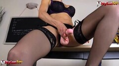 Kinky Hot teacher in stockings and strapon Thumb