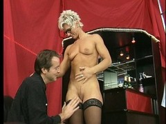 Shorthaired mature takes it in both holes Thumb