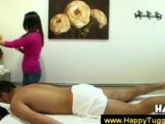 Asian nerd massages a guy Thumb