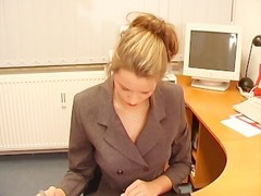 Pantyhose chick fucked in the office Thumb