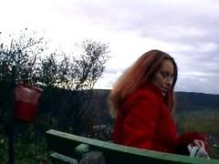 Horny redhead plays with banana outside - Sascha Production Thumb