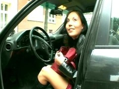 Sweet brunette plays with wine bottle - Sascha Production Thumb