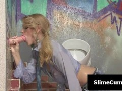 Hot blonde gets her face covered in cum Thumb
