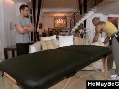 Horny gay bear massages straight guy Thumb