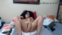 Slutty mature Latina Ann with full hairy bush rides dildo Thumb