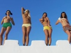 Four chicks stripping at the wall Thumb