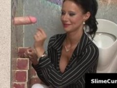 Sexy bit tits woman gags on a big dick through gloryhole Thumb