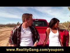 Slutty young horny brunette babe fucks big-dick in a pickup truck Thumb