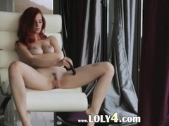 Redhead enjoy new dildo on the armchair Thumb