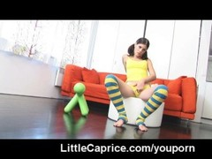 Little Caprice rides a red dildo Thumb
