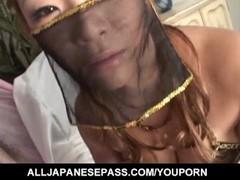 Rui Horie with big boobs sucks shlong till gets cum in mouth Thumb