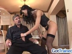 Sexy slut in lingerie gets a threesome Thumb