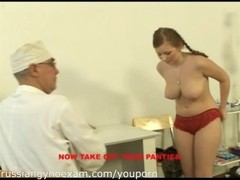 a plumpy busty Russian babe on a gyno exam gets rude treatment Thumb