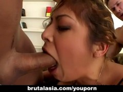 Ass sucking the babe in a nasty foursome session Thumb