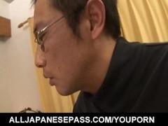 Miina Yoshihara in long socks licks dicks and is screwed in cunt Thumb