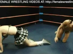 Animal Print vs School Girl Lesbian Wrestling Sex Thumb