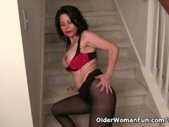 American milf April White teases her nyloned pussy Thumb