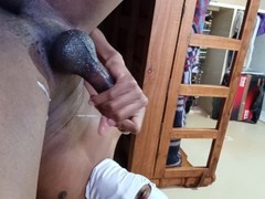 Slave Moans Loudly, Spits And Cums On Thighs Thumb