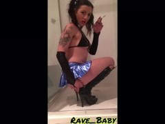 Smoking pvc boot fetish: Sexy brat domina smokes and stomps in the shower Thumb