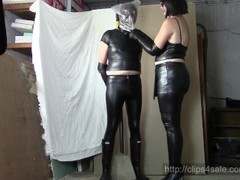 Leather Mistress, leather slave (Part one: plastic bag and HOM) Thumb