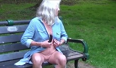 Skinny hot granny flashing and masturbating outdoor Thumb