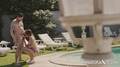 MARISKAX Elena Black rides a hard cock out by the pool Thumb